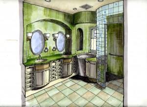 bath design perspective rendering