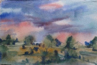 Landscape with rain - watercolor