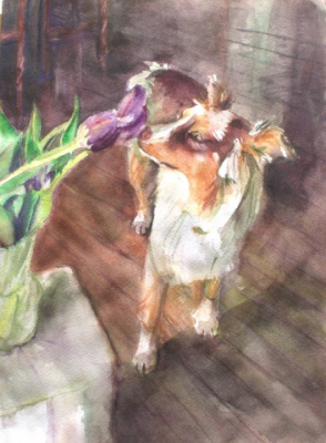 Sasha smelling tulips - watercolor