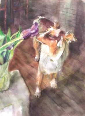 Sasha smelling tulips - watercolor