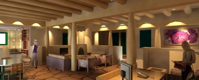Interior lobby of Santa Fe Raquet Club