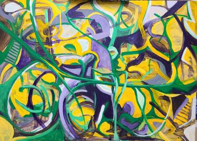 Mirkine, Anou - Composition in violet, permanent green and yellow orange - Acrylic on Masonite - 24x36.jpg